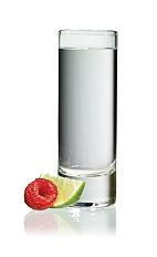 The Raz Shake Shot is made from Stoli Razberi raspberry vodka and Stoli Vanil vanilla vodka, and served in a chilled shot glass.