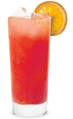 The Red and Sloe is a sweet red colored drink made from sloe gin, bourbon and orange juice, and served over ice in a highball glass.