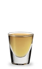 The Red Apricot Punch is an orange shot made from apricot brandy, Jim Beam Red Stag bourbon and orange juice, and served in a chilled shot glass.