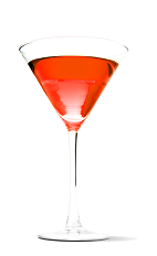 The Red Eye Martini recipe is a red colored cocktail made from UV Cherry vodka and chilled champagne, and served in a chilled cocktail glass.