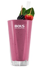The Red Fruit Smoothie is a tasty purple drink made from Bols Natural Yoghurt liqueur, blackberries and blueberries, and served in a chilled highball glass.