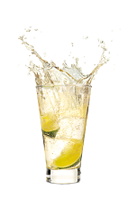 The Red Ginger drink is made from Malibu Red, ginger ale and lime, and served over ice in a highball glass.