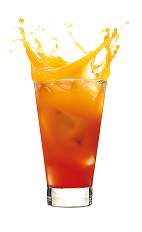 The Red Hot Explosion drink is made from Malibu Red, orange juice and grenadine, and served over ice in a highball glass.