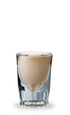 The Red Irish Bliss is a brown shot made from Jim Beam Red Stag bourbon, Bailey's Irish cream and Frangelico hazelnut liqueur, and served in a chilled shot glass.