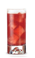 The Red Roxy is a red drink made from Pucker strawberry schnapps, orange vodka and cranberry juice, and served over ice in a highball glass.