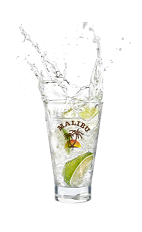 The Red Twist drink is made from Malibu Red, Sprite and lime, and served over ice in a highball glass.