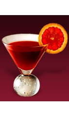 The Riviera Cocktail recipe is an orange colored drink made from Dubonnet Rouge, Grand Marnier orange liqueur and blood orange juice, and served in a chilled cocktail glass.