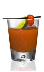 The Road to Jalisco is a red colored drink made from Patron tequila, bloody Mary mix and jalapeno, and served over ice in a rocks glass.