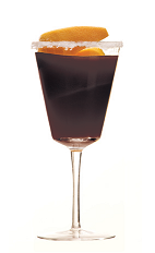 The Roba Dolce cocktail recipe is mamde from Creole Shrubb orange liqueur, Averna Amaro and espresso, and served in a wine glass.