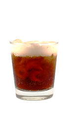 The Root Beer Float drink is made from Smirnoff Root Beer vodka, Cointreau orange liqueur, cola and cream, and served over ice in a rocks glass.