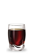 The Root Canal Shot is a brown shot made from root beer schnapps and peppermint schnapps, and served in a chilled shot glass.