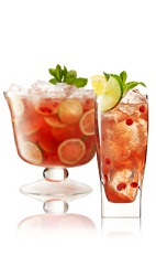 The Royal Punch is a red drink made from Beefeater gin, Dubonnet, pomegranate juice, lemonade, mint and fresh fruit, and served over ice in a highball glass.