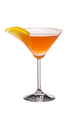 The Ruby Martini is an orange colored cocktail made from Smirnoff citrus vodka, triple sec, pink grapefruit juice, simple syrup and lemon, and served in a chilled cocktail glass.