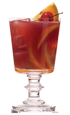 The S and V cocktail recipe is a red colored drink made from Clement Premiere Canne rum, Creole Shrubb orange liqueur, ruby port wine and lime juice, and serve din a chilled cocktail glass.