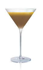 The Salted Tootsie Roll cocktail is made from Stoli Salted Karamel vodka, dark creme de cacao and orange juice, and served in a chilled cocktail glass.