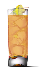 The Salty Lemon drink recipe is an orange colored drink made from UV Salty Watermelon vodka and lemonade, and served over ice in a highball glass.