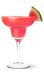 The Salty Melon Margarita cocktail recipe is made from UV Salty Watermelon vodka, triple sec and lime juice, and served blended in a chilled margarita glass.