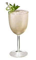 The San Tropez cocktail is made from Chambord flavored vodka, lime juice, simple syrup, mint leaves, cucumber, heavy cream and ginger ale, and served in a chilled wine glass.