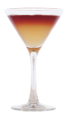 The Santiago Sour cocktail is an orange and red colored drink made from Chilean pisco, Chilean cabernet red wine, simple syrup, lemon juice and orange juice, and served in a chilled cocktail glass.