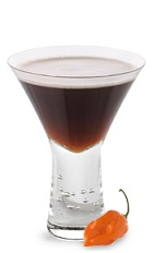 The Sassy Manhattan is a spicy brown cocktail made from chocolate chili liqueur and bourbon, and served in a chilled cocktail glass.