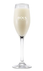 The Scroppino is a relaxing cream colored cocktail made from vodka, Bols Natural Yoghurt liqueur, lemon juice and prosecco, and served in a chilled champagne flute.