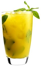 The Sejuicer cocktail is an orange colored drink studded with hints of green peeking though its sweet and tempting body. Made from 42 Below Kiwi vodka, mint and mango juice, and served over ice in a highball glass.