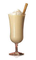The Select Egg Nog is a cream colored drink made from Bacardi rum, half & half, sugar and vanilla, and served in any chilled glass.