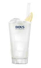 The Sensation Cocktail is a refreshing summer drink made from Bols Natural Yoghurt liqueur, blueberry schnapps and lemonade, and served over ice in a highball glass.