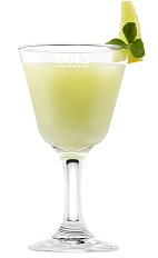 The Shamrock is a festive St Patricks day cocktail made from vodka, Bols Natural Yoghurt liqueur, melon liqueur and Jameson whiskey, and served in a chilled cocktail glass.