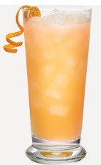 The Shark Tooth is a peach colored drink recipe made from Burnett's rum, melon liqueur, pineapple juice and grenadine, and served over ice in a highball glass.
