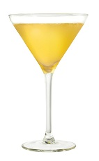 The Silent Third cocktail is made from Cointreau orange liqueur, whiskey and lemon juice, and served in a chilled cocktail glass.
