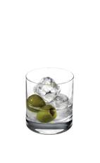 The Silver Martini is a clear-colored drink made from Smirnoff Silver vodka, dry vermouth, bitters and olives, and served in a rocks glass over ice.