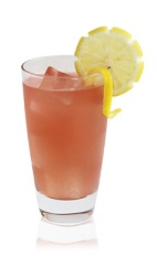 The Silverback is a peach colored drink made from Patron tequila, grapefruit juice, cranberry juice and lemon, and served over ice in a highball glass.