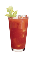The Simple Bloody Mary is a red-colored drink made from Smirnoff vodka, Bloody Mary mix, lime and celery, and served over ice in a highball glass.