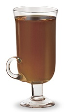 The Ski Lift is a brown cocktail made from peach schnapps, rum and hot chocolate, and served in a warm coffee glass.