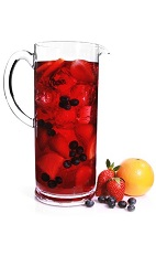 The Skinny Superfruit Sangria cocktail is a red colored drink recipe made from VeeV acai spirit, red wine, cranberry juice, strawberry puree, blueberries and orange, and served over ice in a rocks glass.