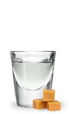 The Slippery Slide is a clear shot made from butterscotch schnapps and peppermint schnapps, and served in a chilled shot glass.
