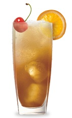 The Smooth and Sour ix an orange drink made from Jim Beam bourbon, amaretto, sour mix and lemon-lime soda, and served over ice in a highball glass.