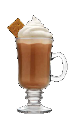 The S'mores Hot Chocolate drink recipe is destined to be a Thanksgiving and Christmas dinner classic. A brown colored cocktail made from Three Olives S'mores vodka, hot chocolate, whipped cream, graham cracker and marshmallows, and served in a warm Irish coffee glass.