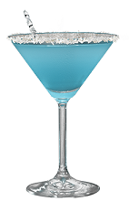 The Snowflake Martini is a blue cocktail made from Hpnotiq liqueur, St-Germain elderflower liqueur, lemon juice and champagne, and served in a coconut-rimmed cocktail glass.
