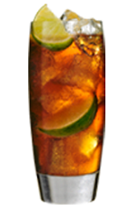 The SoCo Lime Cola is a brown colored drink made from Southern Comfort Lime and cola, and served over ice in a highball glass.