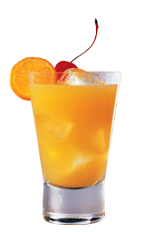 The SoCosicle is an orange colored drink made from Southern Comfort, orange, cherry and orange soda, and served over ice in a highball glass.