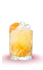 The Songbird is an orange colored cocktail made from Mandarine Napoleon, lemon juice, orange juice and ginger beer, and served over ice in a rocks glass.