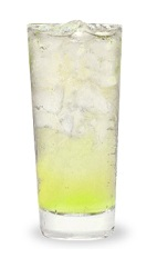 The Sour Apple Fizz is made from Pucker sour apple schnapps and lemon-lime soda, and served over ice in a highball glass.