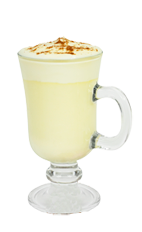 The Southern Eggnog is a cream colored drink made from Southern Comfort, eggnog and nutmeg, and served in an Irish coffee glass.