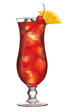 The Southern Hurricane is an orange colored drink made from Southern Comfort, sweet and sour mix, orange juice, pineapple juice and grenadine, and served in a hurricane glass.