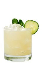 The Spa Cooler is a refreshing drink recipe made from VeeV acai spirit, mint, cucumber, lime juice and simple syrup, and served over ice in a rocks glass.