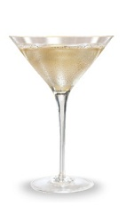 The Sparkling Appletini is made from Pucker sour apple schnapps, vodka, grenadine and lemon-lime soda, and served in a chilled cocktail glass.