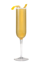 The Sparkling Sunrise is an orange colored cocktail made from Smirnoff Whipped Cream vodka, simple syrup and orange juice, and served in a chilled champagne glass.