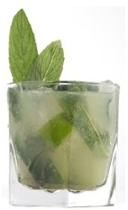 The Spiced Apple Mojito is a blast of late summer flavors in a small glass. Made from Luxardo Spiced Apple sambuca, mint and simple syrup, and served over crushed ice in a rocks glass garnished with mint.